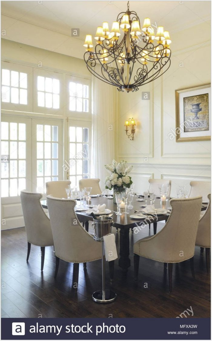Chandelier Above Dining Room Table
