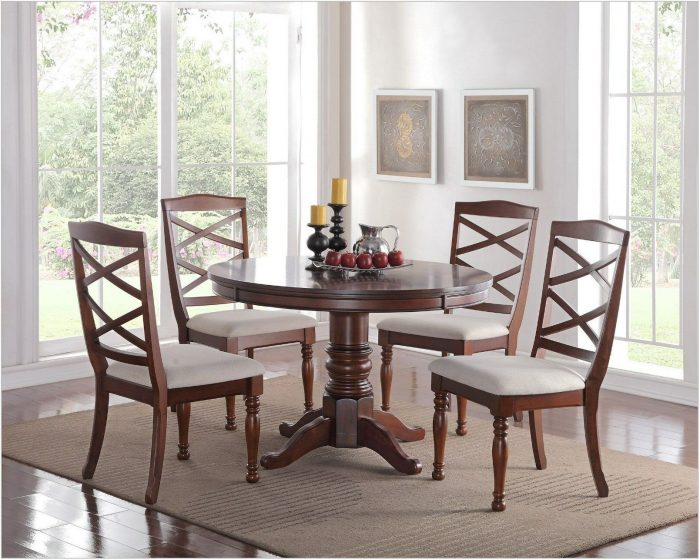 Cherry Wood Round Dining Room Table