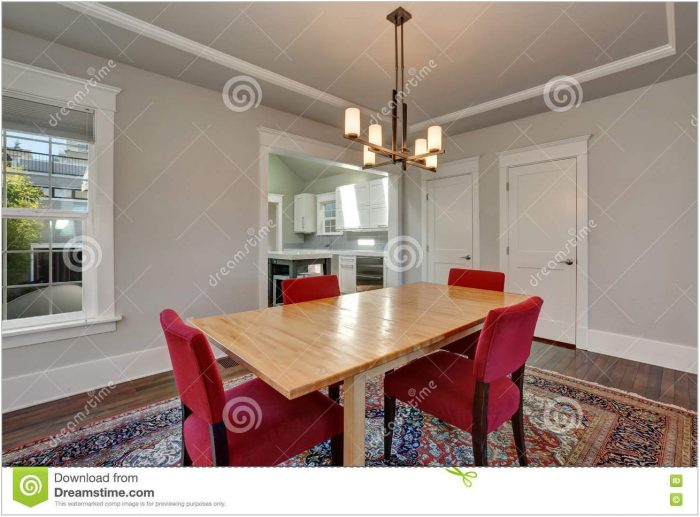 Dining Room Table With Red Chairs